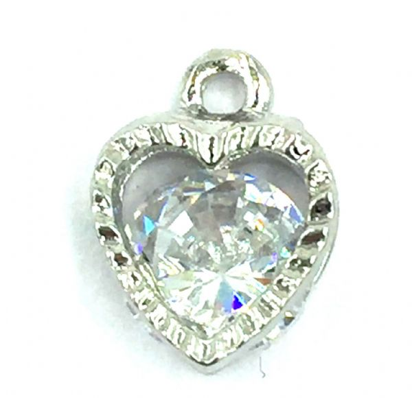 Crystal charm / pendant - Caged crystal heart - 8mm - rhodium